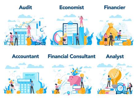 Financial or business profession set. Business character making Illusztráció