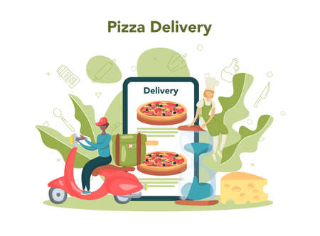 Pizzeria online service or platform. Chef cooking tasty delicious pizza.
