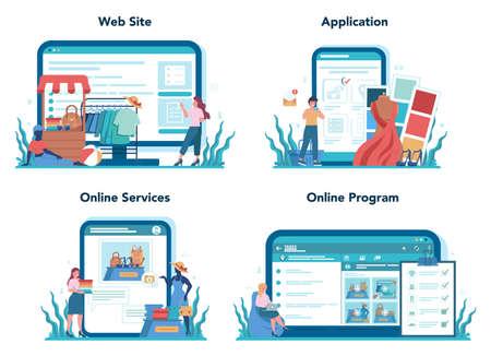 Store merchandiser online service or platform set. Shop Illusztráció