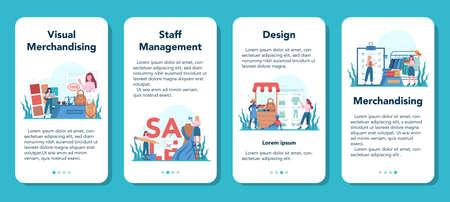 Store merchandiser mobile application banner set. Shop Illusztráció