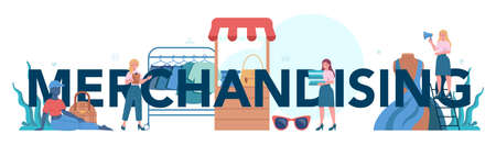 Store merchandising typographic header. Shop and showcase