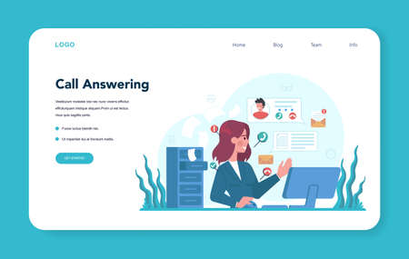 Secretary web banner or landing page. Receptionist answering Illustration