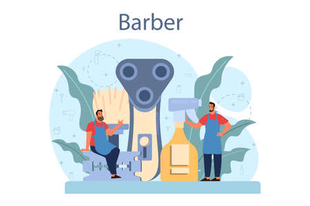 Barber concept. Idea of hair and beard care. Scissors and brush, Vettoriali