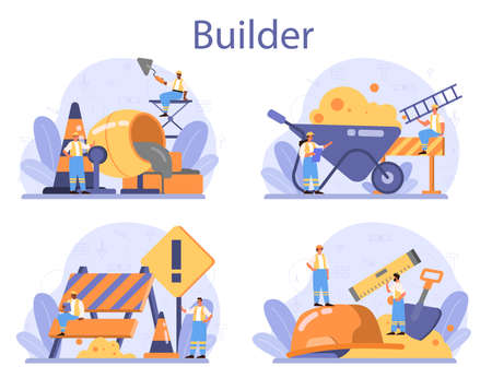 House building concept. Workers constructing home with tools