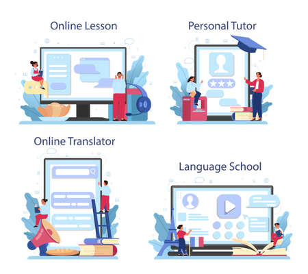 French learning online service or platform set. Language school