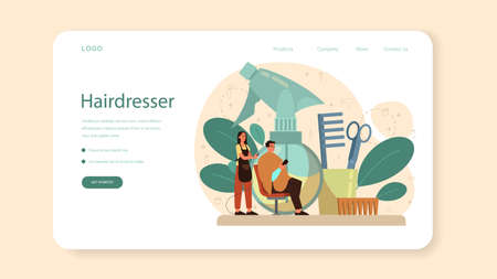 Hairdresser web banner or landing page. Idea of hair care in salon.