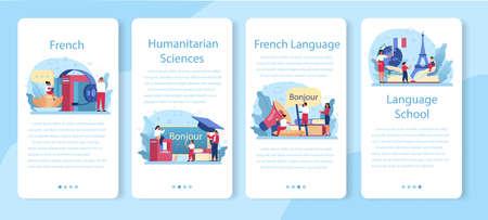 French learning online service or platform set. Language school