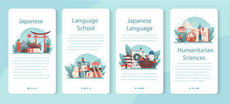 Japanese learning web banner or landing page set. Language school Vectores