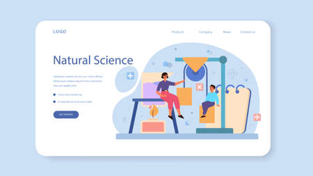 Physics school subject web banner or landing page. Scientist explore