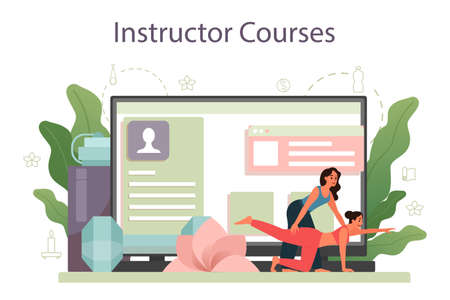 Yoga instructor online service or platform. Asana or exercise Vectores