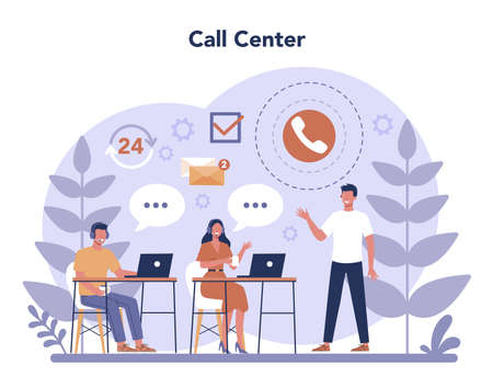 Call center or technical support concept. Idea of customer service. Vettoriali