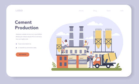 Constructin material production industry web banner or landing