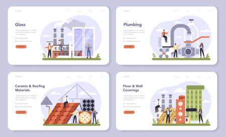 Building products industry web banner or landing page set. Home