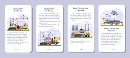 Construction and engineering industry mobile application banner set. Illusztráció