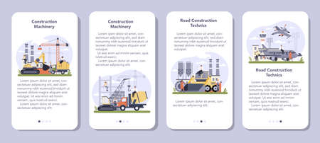 Construction and engineering industry mobile application banner set. Illustration