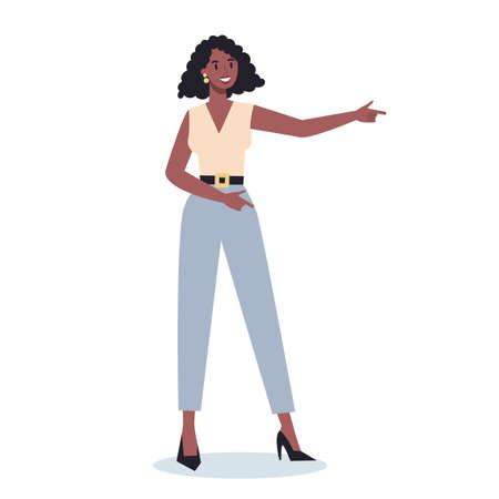 Business character pointing up something. Female business worker
