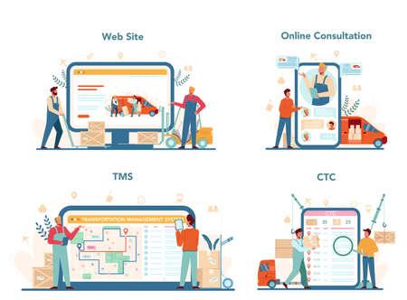 Forwarder online service or platform set. Transportation service Illusztráció