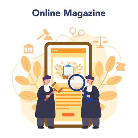Judge online service or platform. Court worker stand for justice 向量圖像