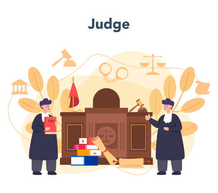Judge concept. Court worker stand for justice and law. Judge