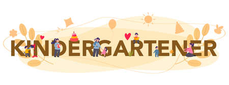 Kindergartener typographic header. Professional nany and children