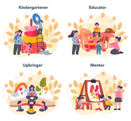 Kindergartener set. Professional nany and children doing different
