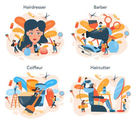 Hairdresser concept set. Idea of hair care in salon. Scissors