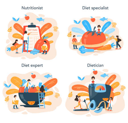 Nutritionist concept set. Diet plan with healthy food and physical activity Vector Illustratie