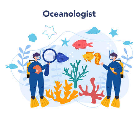 Oceanologist concept. Oceanography scientist. Practical studying all