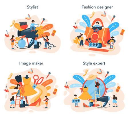 Fashion stylist concept set. Modern, creative job, professional fashion