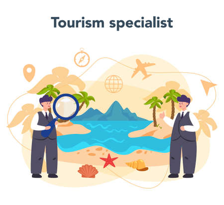 Travel agent concept. Office worker selling tour, cruise, airway