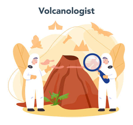 Volcanologist concept. Geologist studying the processes and activity