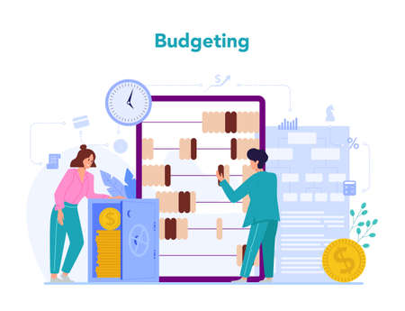 Economists concept. Budgeting. Business people work with money.