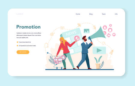 Company promotion web banner or landing page. Advertising