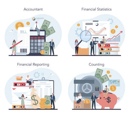 Accountant office manager set. Professional bookkeeper. Concept Vectores