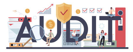 Audit typographic header. Business operation research and analysis