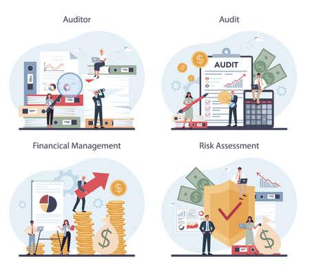 Audit concept set. Business operation research and analysis. Ilustração
