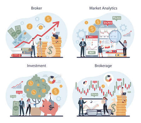 Financial broker set. Market analytics, investment and saving 일러스트