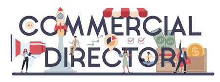Commercial director or sales manager typographic header concept. Ilustração