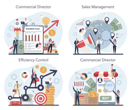Sales manager or commercial director concept set. Business