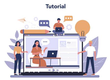 Copywriter online service or platform set. Idea of writing texts,