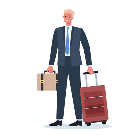 Business person having a business trip. Male character walking with