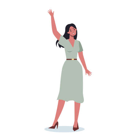 Business people in official clothes with their hand up. Worker Illustration