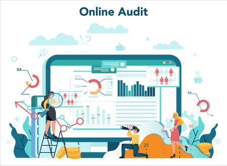 Audit online service or platform. Online business operation research Ilustração