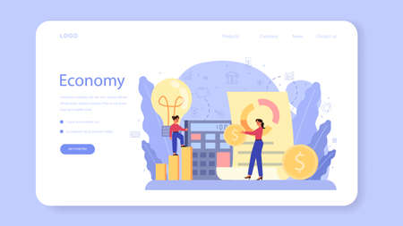 Economy school subject web banner or landing page. Student 向量圖像