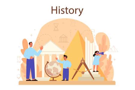 History concept. History school subject. Idea of science Vettoriali