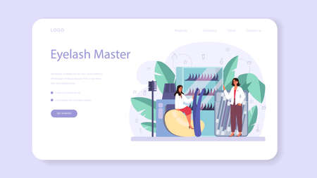 Lashmaker concept web banner or landing page. Beauty center