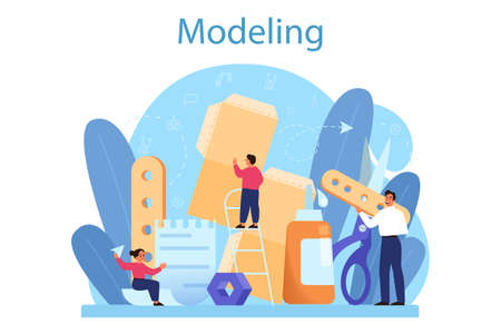 Modeling school subject concept. Engineering, crafting and constraction Stock Illustratie