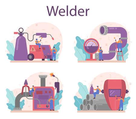 Welder and welding service concept set. Professional welder Illustration