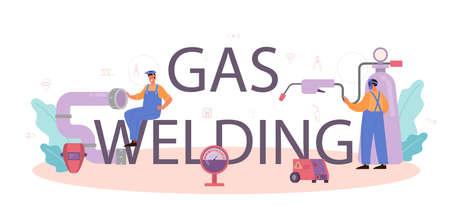 Gas welding typographic header concept. Professional welder