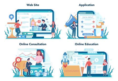 Marketer online service or platform set. Advertising and marketing